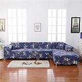 Funda de sofá de Eleoption, tela elástica de poliéster, antideslizante, ajuste perfecto al sofá de una plaza, funda de sofá moderna y resistente, azul marino, for L Shape Sofa