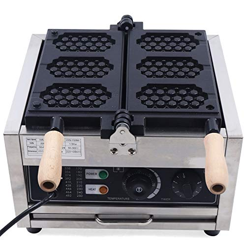 Gofrera comercial para 3 gofres belgas gas, temperatura ajustable, 1500 W