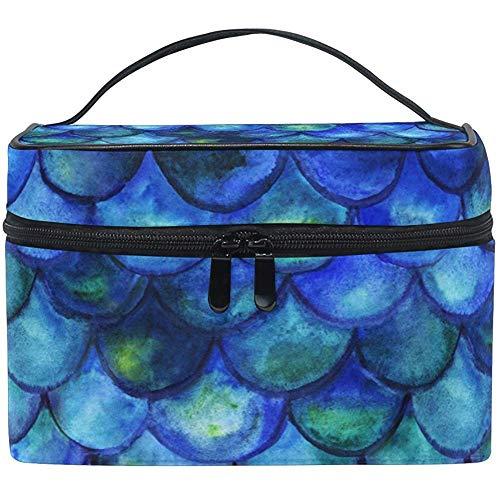Aquarelle Bleu Échelle Femmes Voyage Maquillage Sac Portable Cosmétique Train Case Trousse De Toilette Beauté Organisateur