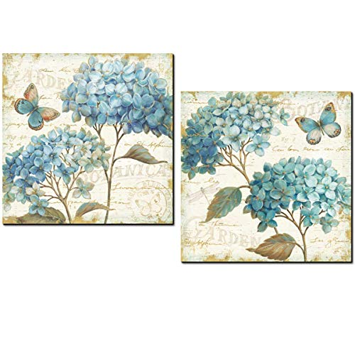 Cuadros decoración Hortensias AZULES para decorar baño comedor dormitorio cocina office...