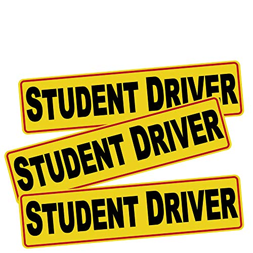 3pcs 12'x3' Student Driver Sticker Decal Safety Signs for New Driver, Paint Safe Removable Back Glue Sticks Better Than Magnetic for Plastic Bumper and Window, one for Each Side and The Rear