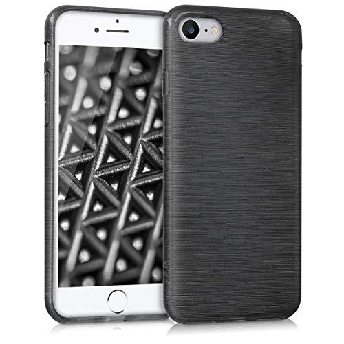 kwmobile Cover Compatibile con Apple iPhone 7/8 / SE (2020) - Custodia in Silicone TPU - Back Case Protezione Posteriore Cellulare - Alluminio Spazzolato Antracite/Trasparente