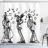 wobuzhidaoshamingzi Jazz-Musik-Duschvorhang, Skizzenstil Einer Jazz-Band, die Musik mit Instrumenten & Noten druckt