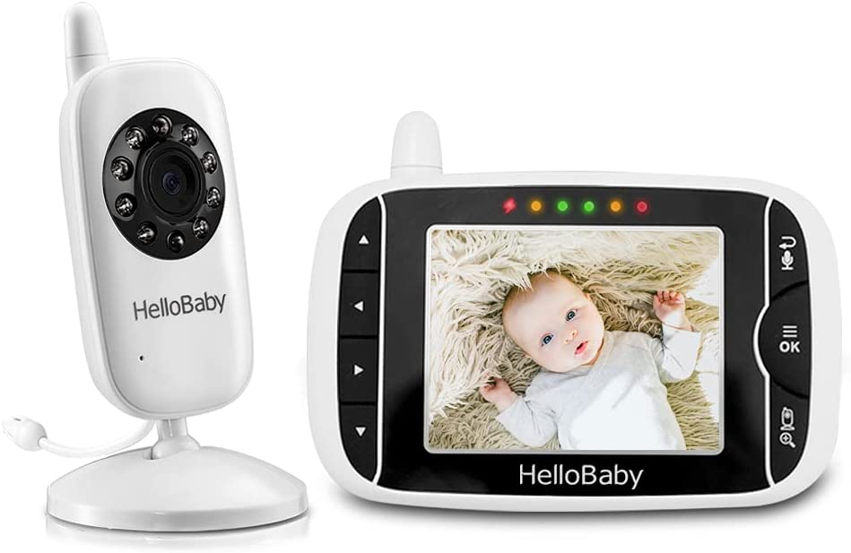 """HelloBaby Baby Monitor 3.2""""LCD Screen, Video Baby Monitor with Voice Activation, Infrared Night Vision, Temperature Monitoring,Two-Way Talk, 8 Lullabies"""