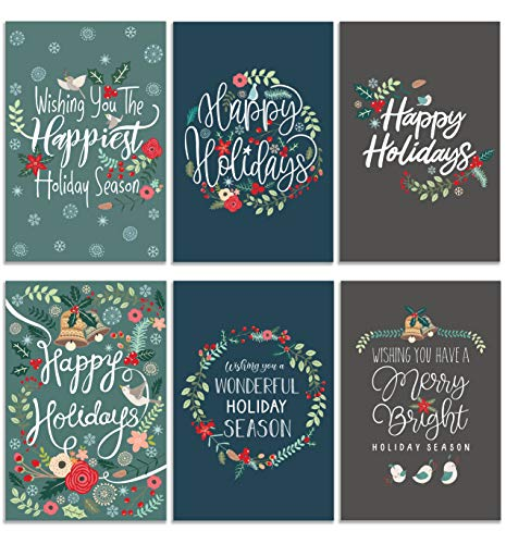 Merry Christmas Cards, Traditional Holiday Cards, Xmas Greeting Cards, Boxed Christmas Cards, Assorted Holiday Card Pack, 36 Christmas Greeting Cards Assortment with Envelopes - 4 x 6 Inches Each
