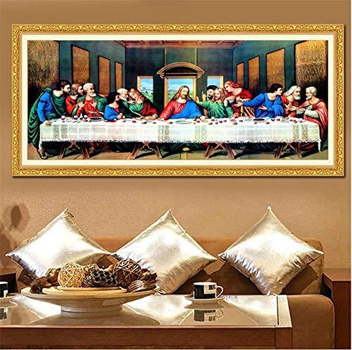 DIY 5D Kit de pintura de diamante Última cena Jesús taladro completo diamond painting Rhinestone Cristal Bordado de Punto de Cruz Arte cuadros Casa Decoración de La ParedSquare Drill,60x150cm