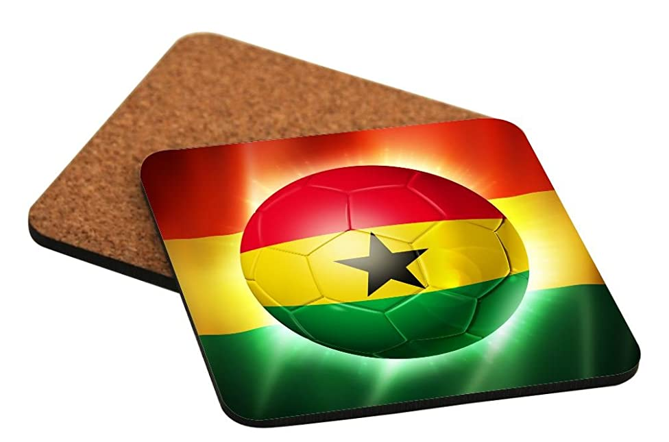 Rikki Knight Brazil World Cup 2014 Ghana Team Football Soccer Flag Design Cork Backed Hard Square Beer Coasters, 4-Inch, Brown, 2-Pack