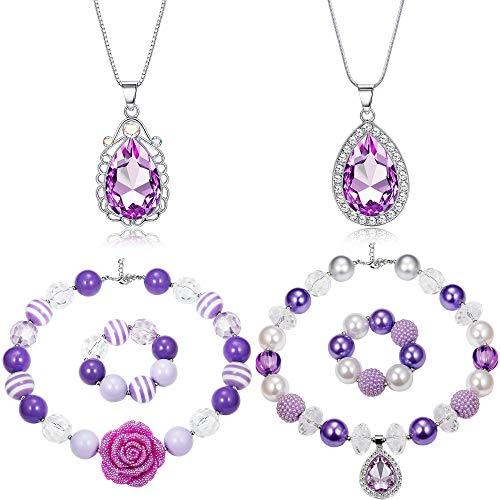 FIBO STEEL Chunky Bubblegum Necklace and Bracelet Set Sofia Amulet Teardrop Pendant Necklace Princess Costumes Jewelry Birthday Gift 6 Pieces