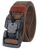 Longwu Hebilla súper magnética Lona de nylon de liberación rápida Cinturón táctico militar transpirable para hombres y mujeres con hebilla de plástico Café