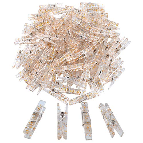100 Pieces Clear Plastic Utility Paper Clip, Photo Paper Peg Pin, Clothes Line Clips, Craft Clips, 3.5 x 0.5cm x 0.7cm (Gold Glittered)