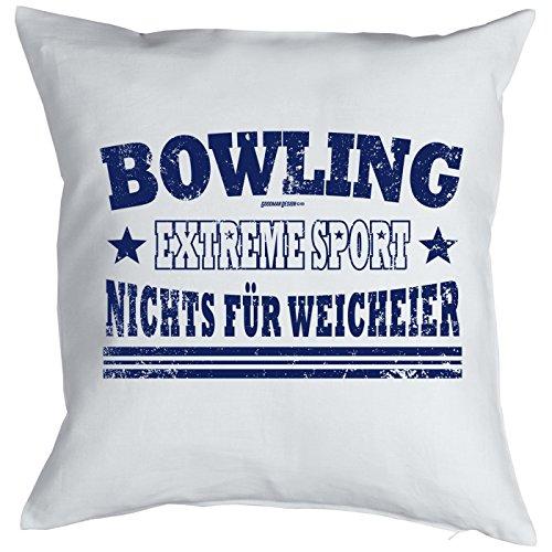 Couchkissen Sofakissen Sport Kissen mit Füllung Bowling Extreme Sport Nichts für Weicheier lustiges Fun Kissen Geschenk für Sportler