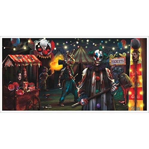 Creepy Carnival Sideshow Door Decoration - Giant Evil Circus Banner Halloween Decor,