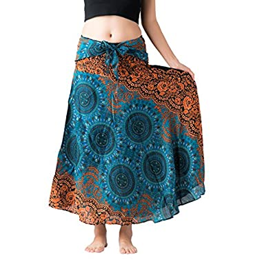 Bangkokpants Women's Long Hippie Bohemian Skirt Gypsy Dress Boho Clothes Flowers One Size Fits (Bohorose Green, One Size)