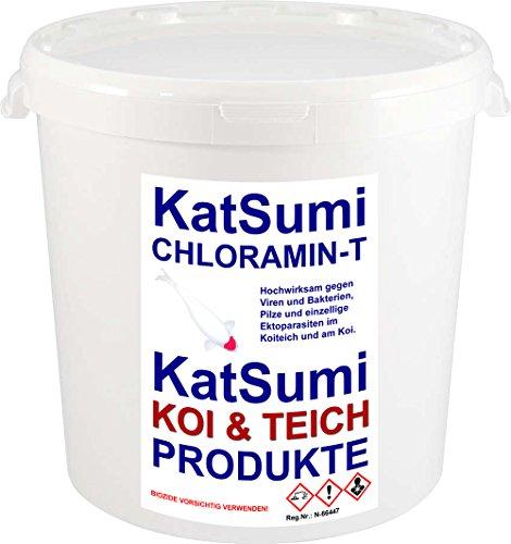 KatSumi Chloramin-T Chloramin-T professionelles Wasserdesinfektionsmittel, Aquakultur und Koiteich, effektiv gegen Viren, Bakterien, Pilze, einzellige Ektoparasiten im Teich und Aquarium, 1kg Eimer
