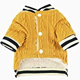 Loyanyy Cable Knit Dog Sweater Fleece Lined Dog Coat with Button Warm Cozy Puppy Clothes Cat Winter Apparel Pet Knitwear Yellow Large
