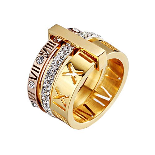 PMTIER Women's Stainless Steel 18k Gold Plated Roman Numeral White Diamond 3 in 1 Ring Size 9