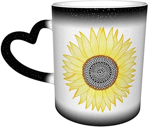 Tazas de café Golden Mandala Girasol Sensible al calor Taza que cambia de color en el cielo Taza de cerámica Regalos personalizados para amantes de la familia Amigos
