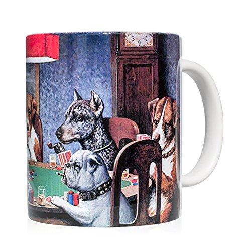 We Love Art Taza mug Desayuno de cerámica Blanca 32 cl. con impresión de Obra de Arte Cuadro con Perros Jugando al Poker Autor C.M. Coolidge