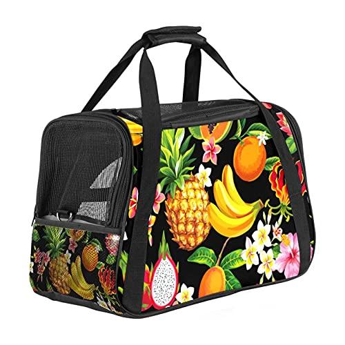 Bolsa de transporte para mascotas con diseño de dragón de piña y papaya, color negro, con apertura superior, alfombrilla extraíble y malla transpirable, bolsa de transporte para perros y gatos