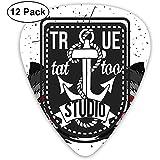 Guitar Pick Classic Picks 12er-Pack für Gitarre und Bass Selbstgemachtes Tattoo Design Old School...