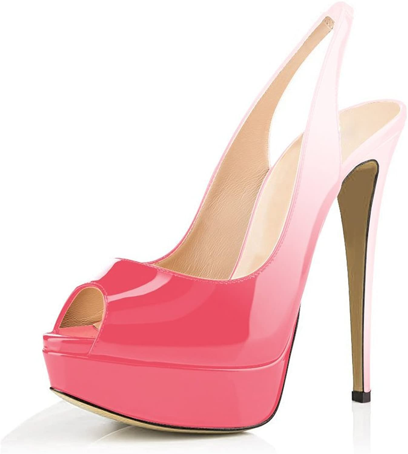 Cdvintu Lady Peep Toe Slingbacks 150mm Cover Stilettos 50mm Platform High Heels Patent Leather Pumps for Wedding