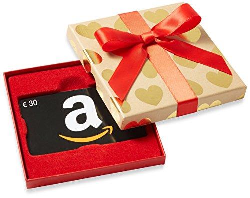Amazon.de Geschenkkarte in Geschenkbox - 30 EUR (Goldene Herzen)