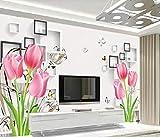 Papel pintado Cuadrado blanco y negro de tulipanes rosados Papel pintado no tejido Mural de efecto 3D Pared Pintado Papel tapiz 3D Decoración dormitorio Fotomural sala sofá mural-250cm×170cm