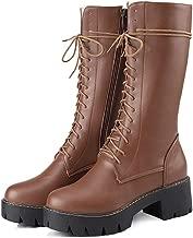 DETAWIN Women Motorcycle Boots Waterproof Thick High Heels Lace Up Zip Round Toe Platform Mid Calf Boot