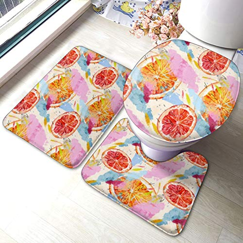 Orange Fruit 1 Bathroom Rug Mats Set 3 Piece, Non Slip Absorbent Pads Bath Rug + U-Shaped Contour Mat+Toilet Lid Cover