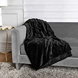 HOMEXPERTS Super Plush 420 GSM Throw Blanket 50 x 70 Inches | Soft Cozy Fleece Flannel Knit Microfiber Blankets for Bed, Couch, Pets, Camping, Travel | Stylish Faux Fur Throw Boho Decor (Black)