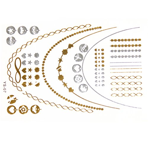 New Metallic Tattoo Gold Silver Black Temporary Bling Flash Tats Craft Sticker 1 Sheet (#156A) by We-buys