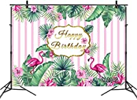 HD 10x7ft Flamingo Happy Birthday Backdrop Tropical Floral Green Leaf Palm Coconut Banana Monstera Leaves Photography Background for Birthday Party Banner Supplies Decorations Photoshoot Studio Props