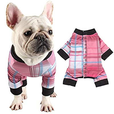 Due Felice Dog Professional Surgical Recovery Suit for Abdominal Wounds Skin Diseases, After Surgery Wear, E-Collar Alternative for Puppy, Home Indoor Pets Clothing Pink & Blue Plaid/M