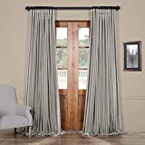 HPD Half Price Drapes PDCH-KBS9BO-96-DW Blackout Extra Wide Vintage Textured Faux Dupioni Curtain (1 Panel), 100 X 96, Silver