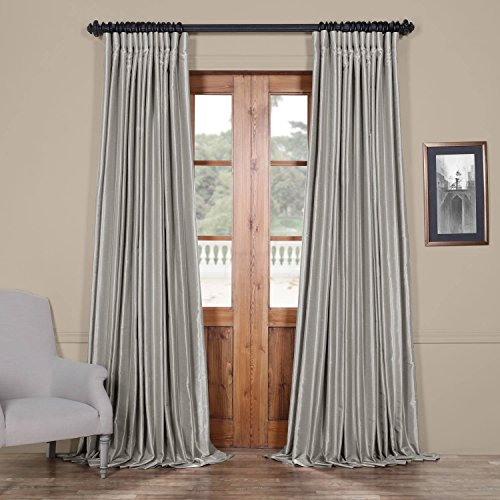 HPD Half Price Drapes PDCH-KBS9BO-84-DW Blackout Extra Wide Vintage Textured Faux Dupioni Curtain (1 Panel), 100 X 84, Silver