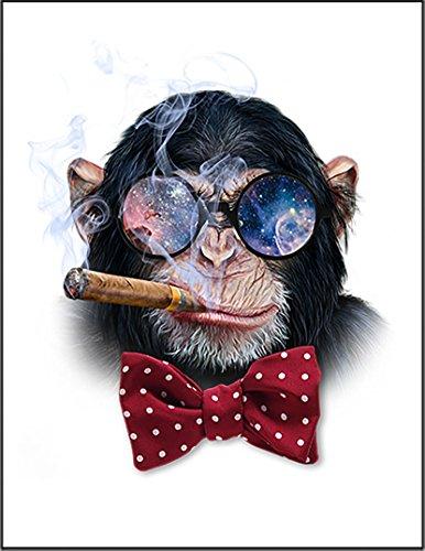 【FOX REPUBLIC】【お洒落なメガネをかけタバコを吸うチンパンジー】 白光沢紙(フレーム無し)A2サイズ
