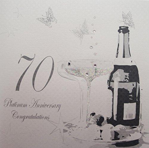 WHITE COTTON CARDS 'Champagne o cioccolatini, 70Platinum Anniversario congratulazioni Wishing di Anniversario