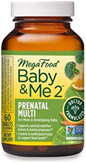 MegaFood, Baby & Me 2 Prenatal Multi, Prenatal and Postnatal Vitamin with Active Form of Folic Acid, Iron, Choline, Non-GM...