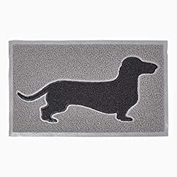 Homescapes black and grey PVC loop doormat with black dog silhouette. Measuring 73.5cm (W) x 44cm (H) and 1.7cm thick. Made from 1.7cm thick PVC, plastic mat is designed to lay flat on the ground, protecting your floor and will not curl, avoiding tri...