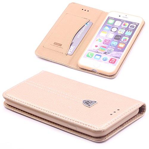 ScorpioCover Handy Schutz Tasche Noble Series Cover kompatibel mit [ iPhone 7 / iPhone 8 ] edle Book Style Hülle mit Aufstellfunktion & Kartenfach Champagner Gold