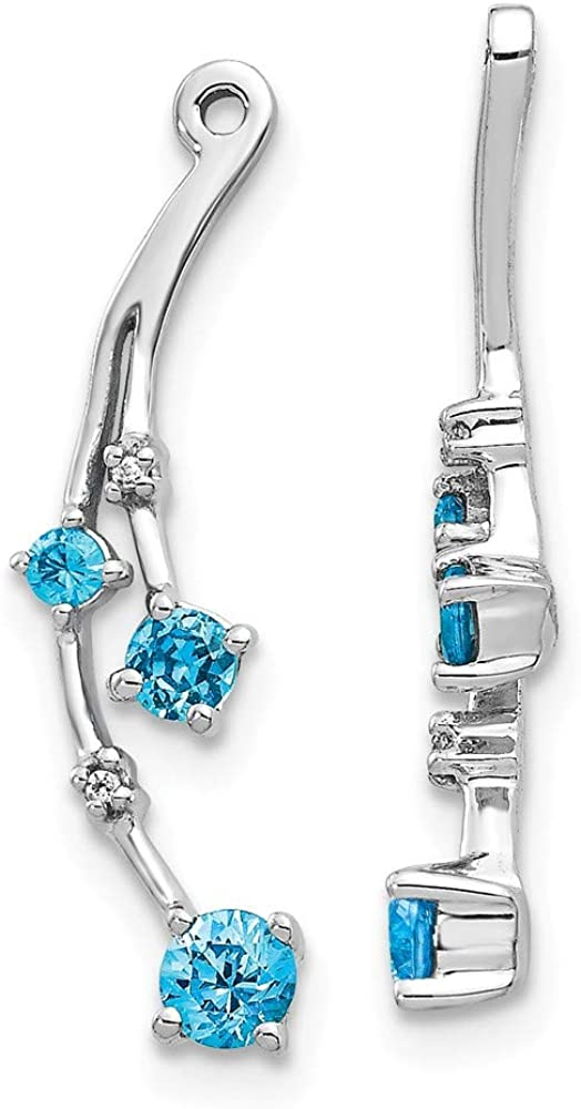 Solid 14K White Gold Diamond and Blue Topaz Dangle Earring Jackets - 23mm x 8mm (.011 cttw.)