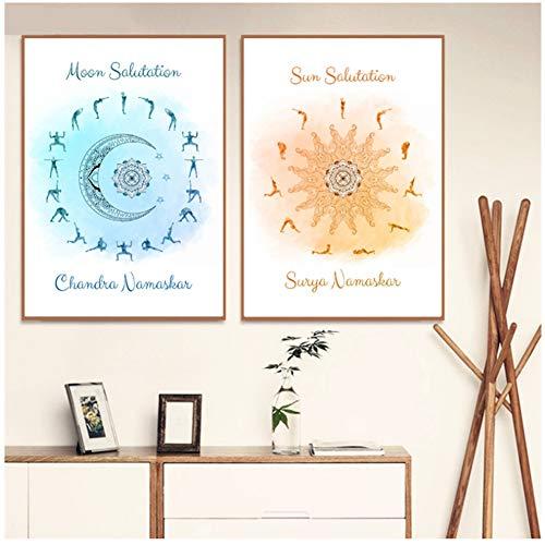 yhyxll YogaSonnengruß MondgrußHimmlische Poster und DruckeWandkunstDekorKunst Leinwand Malerei Druck auf Leinwand-50x70cm Kein Rahmen