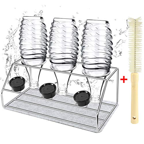 Stainless Steel Baby Bottle Drying Rack SodaSteam Drying Rack 3Hole Soda Bottle Drain Rack Drip Rack with Brush and Absorbent padBaby Bottle Shelf