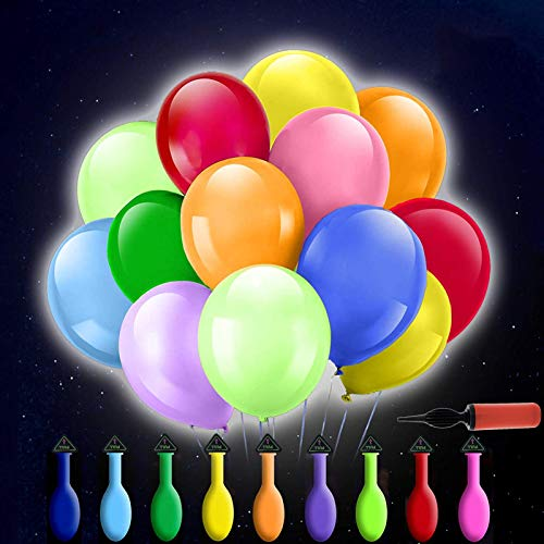 50PCS Palloncini LED Palloncini luminosi,Palloncino LED con bastone,Pallone a gas illuminato,Palloncini led elio con supporto,Palloncini per illuminazione a LED,Palloncino luminoso a LED (A)