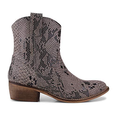Cox Damen Damen Western-Boots aus Leder, Stiefeletten in Grau im Schlangenleder-Design Grau...