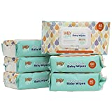 HappyBum Sensitive Baby Wipes, Unscented, 99.5% Purified Water Baby Wipes, 480 Count, Flip-Top Pack, Natural Care Face, Hand and Body Wipes (6 Packs of 80 Count)