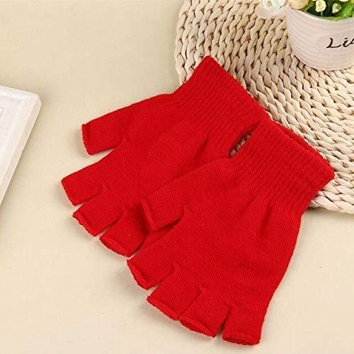Heliansheng Neutrale winterwarme Handschuhe Fingerlose gestrickte halbe Finger Bunte Handschuhe -Red-D3