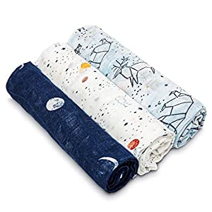 aden + anais Silky Soft Swaddle Blanket, 100% Bamboo Viscose Muslin Blankets for Girls & Boys, Baby Receiving Swaddles, Ideal Newborn & Infant Swaddling Set, 3 Pack, Stargaze