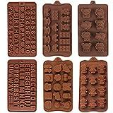6 Piezas Moldes de Chocolate, Moldes de Silicona para Chocolate, Moldes para Hacer Caramelos Chocolate Antiadherentes, 6 Tipos Moldes Diferentes Formas, para Hacer Galletas Dulces Gelatina Chocolate