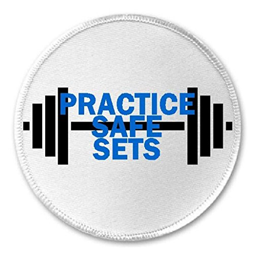 """Practice Safe Sets - 3"""" Sew/Iron On Patch Dumbell Gym Workout Funny Humor Joke"""